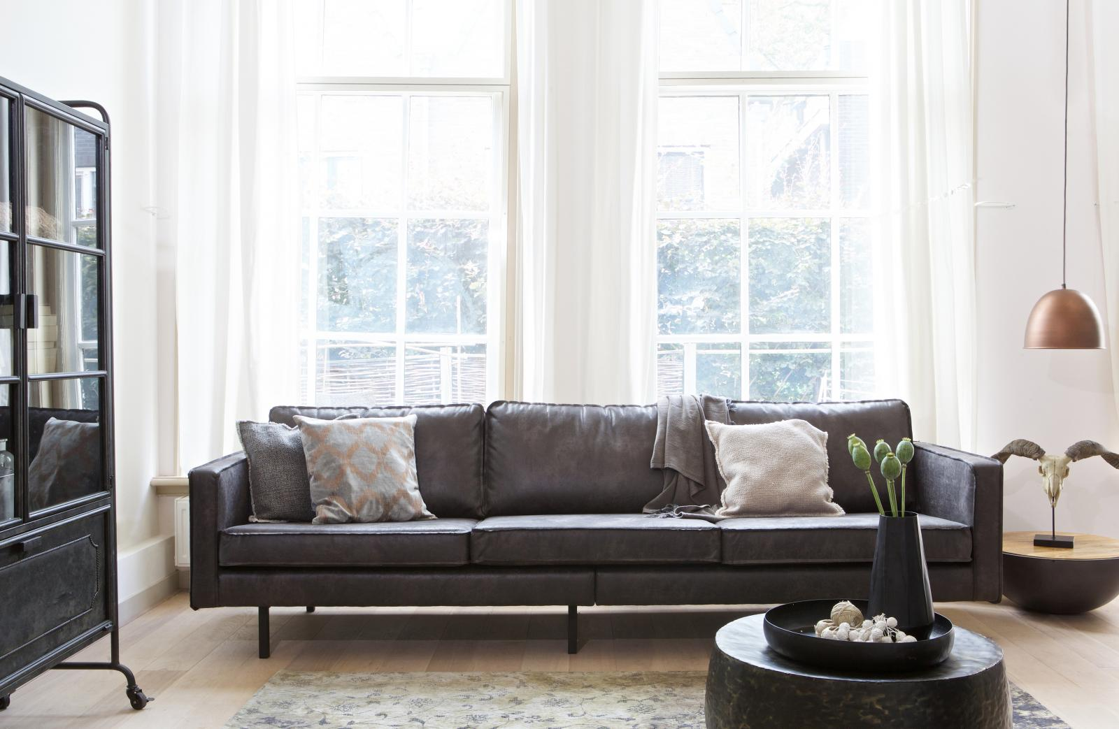 bepurehome rodeo ledersofa 3 sitzer schwarz ledercouch. Black Bedroom Furniture Sets. Home Design Ideas